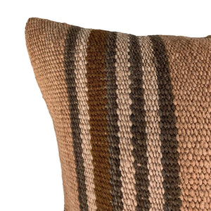 ".Brown Stripe Handwoven Wool Pillow - 24"" x 24"""