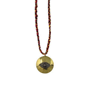 Gold Pave Diamond Evil Eye Necklace