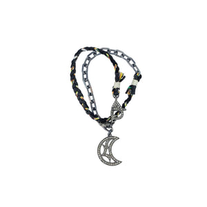 .Black + Silver Diamond Crescent Moon Wrap Bracelet
