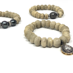 .Neutral Carved Antler Bead Bracelet *more options available*