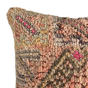 "Multi Colored Vintage Moroccan Pillow - 17"" x 17"""