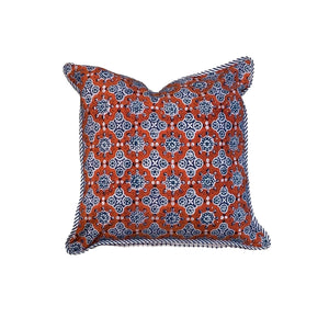 "Red + Blue Hand Block Printed Pillow - 16"" x 16"""