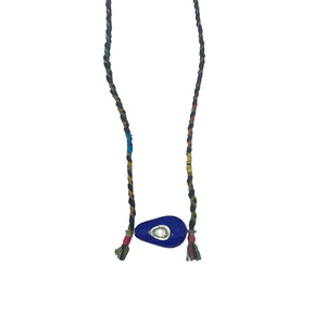 .Blue Bead with Diamond Necklace