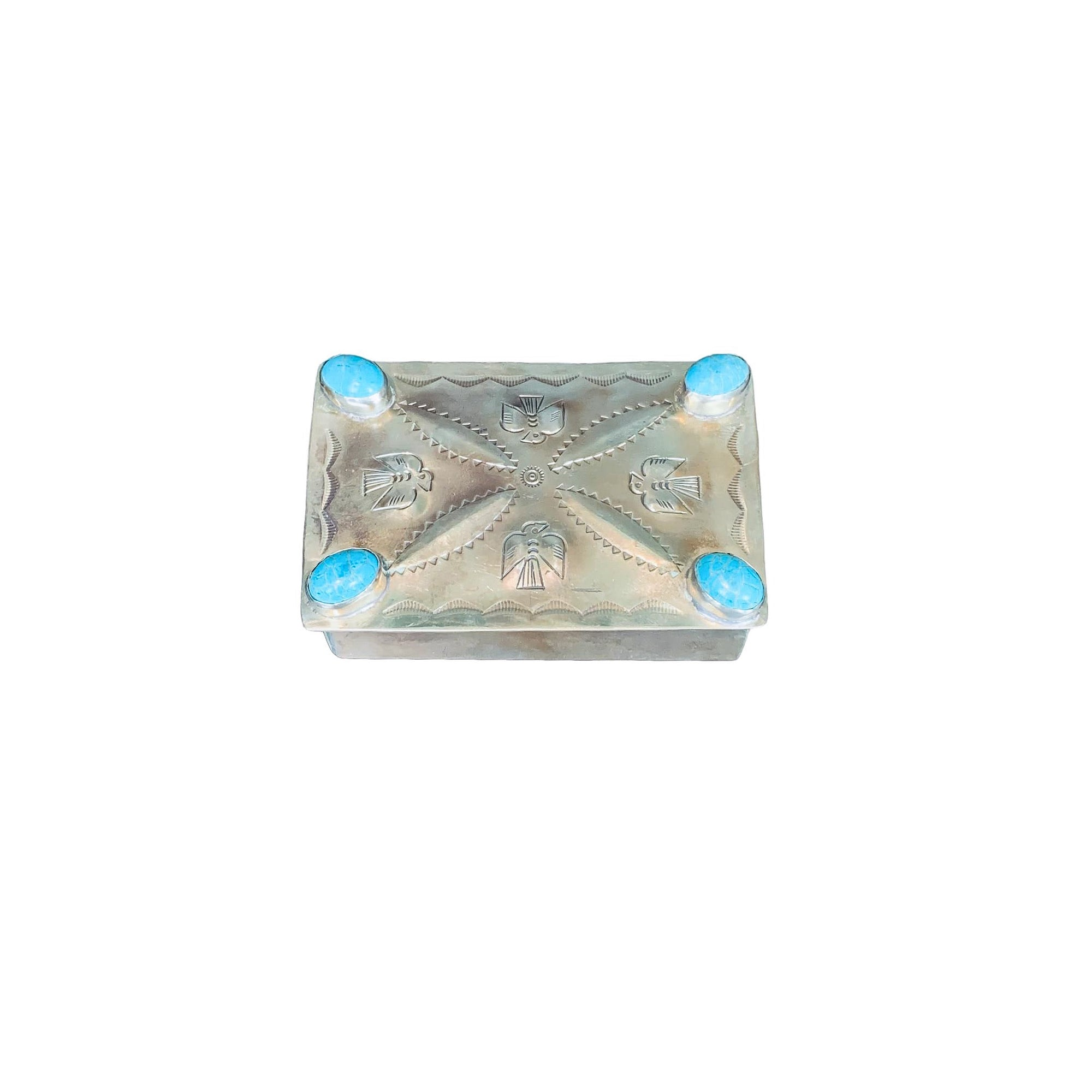 .Silver Hand-stamped Repousse Box with Turquoise - Small