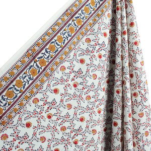 .Multi Colored Hand Block Printed Tablecloth - Rectangle