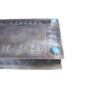 Silver Hand-stamped Horseshoe Box with Turquoise
