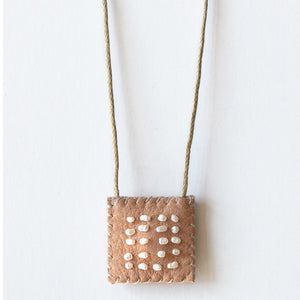 Brown Leather Talisman Necklace - Pearls