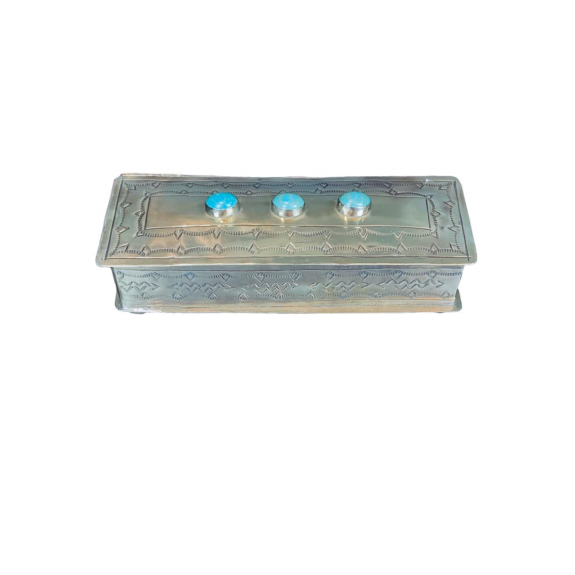 .Silver Hand-stamped Eyeglass Box with Turquoise