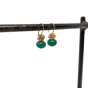 Green Chalcedony Rondel Earrings