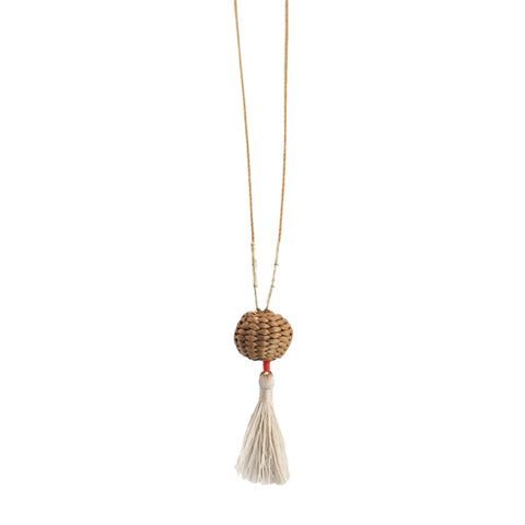 .Brown Woven Basket Necklace
