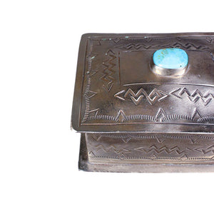 Silver Hand-stamped Box with Turquoise - Small