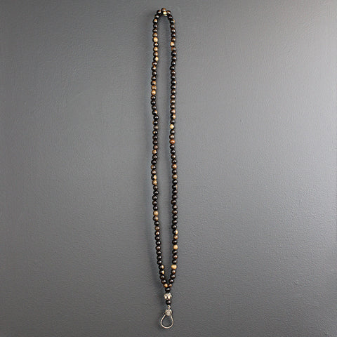 .Ebony Beads Necklace with Polki Diamond
