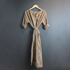 .Brown Alexis Linen Dress