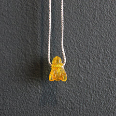 Yellow Hand-carved Amber Bee Necklace
