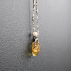 Yellow Hand-carved Amber Bee Necklace with Pave Diamond Butterfly