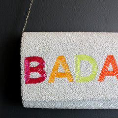 White Hand Beaded Clutch - Badass