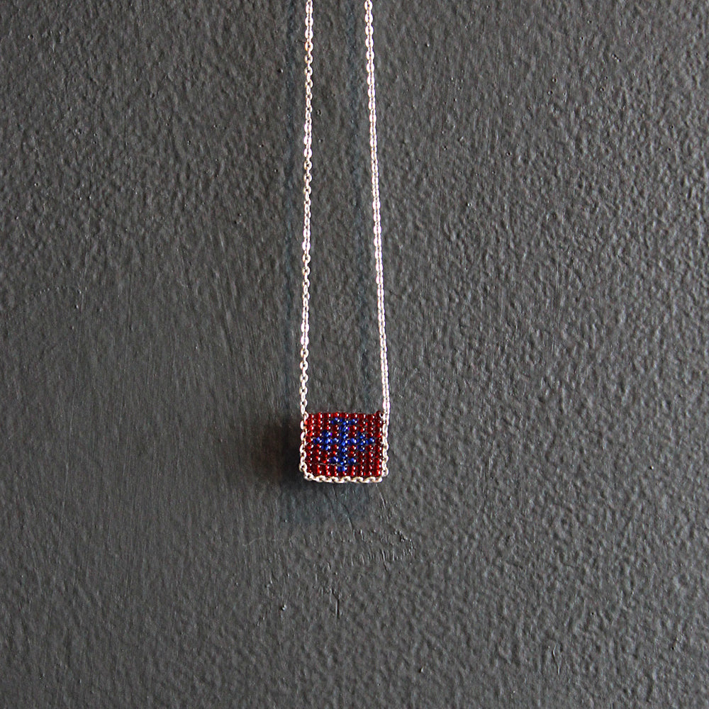 Red + Blue Hand-beaded Cross Necklace