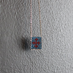 Blue + Red Hand-beaded Cross Necklace