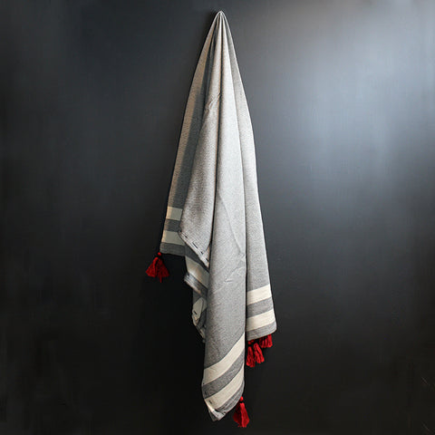.Black + White Stripe Bed Throw with Red Tassels