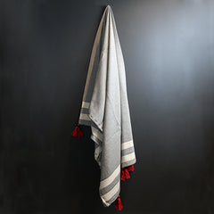 Black + White Stripe Bed Throw with Red Tassels