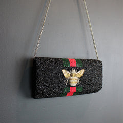 .Black Hand Beaded Clutch - Bee
