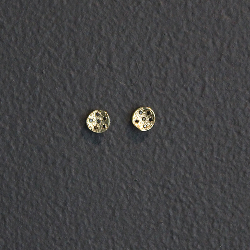 Gold 14K Earrings with Black Diamonds
