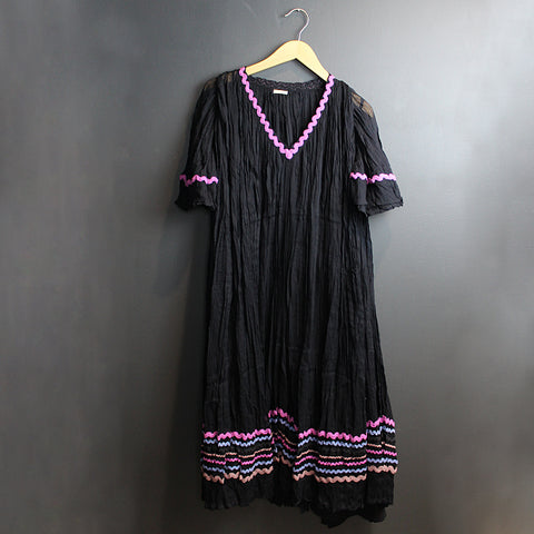 .Black Cotton Gauze Dress