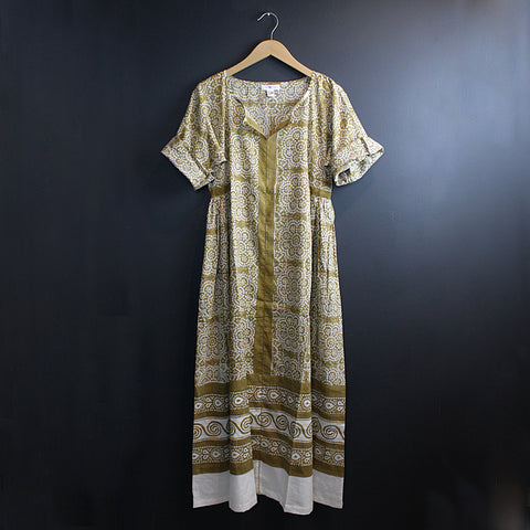 .Green Hand Block Printed Dress