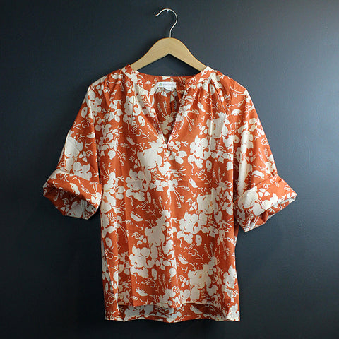 .Orange Hand Block Printed Top