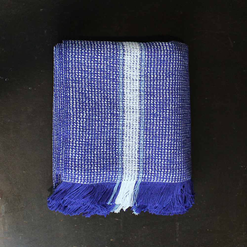 Blue Handwoven Cotton Bath Towel