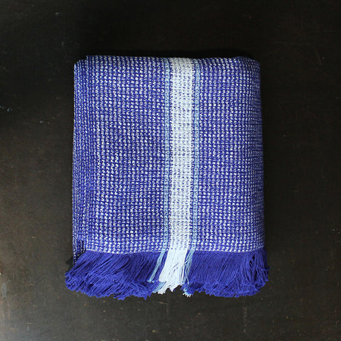 .Blue Handwoven Cotton Bath Towel