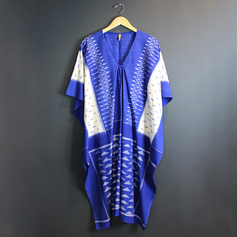 .Blue + Cream Cotton Caftan