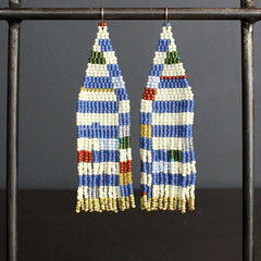 Multi Colored Hand Beaded Earrings