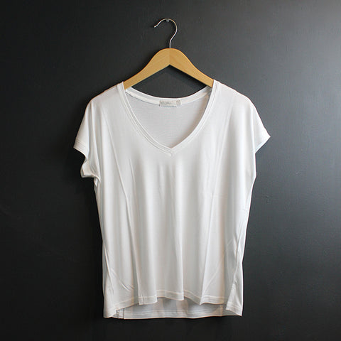 White Boxy V-Neck Tee
