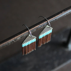 Brown + Turquoise Hand Beaded Earrings