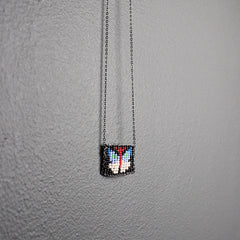 Black Hand-beaded Butterfly Necklace - Multicolored on Black