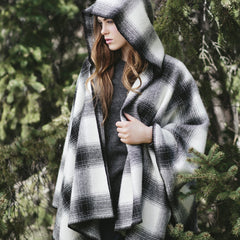 White + Black Hooded Wool Cape