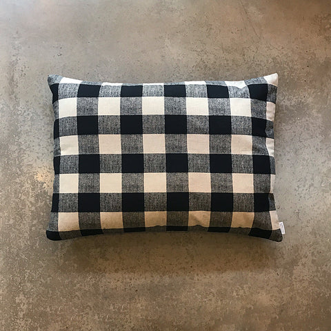 Black + Cream Checkered Dog Bed