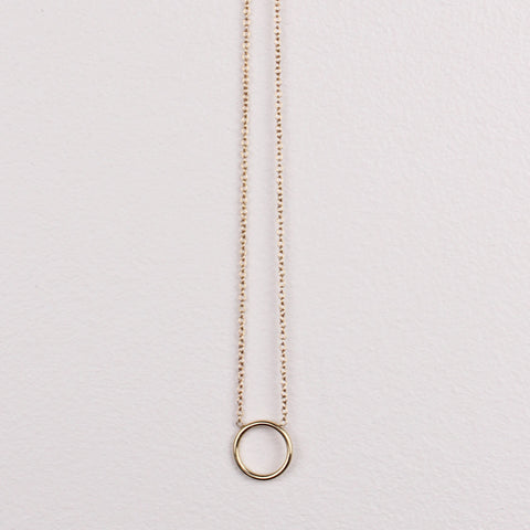 Tiny Circle Necklace - 14K Gold