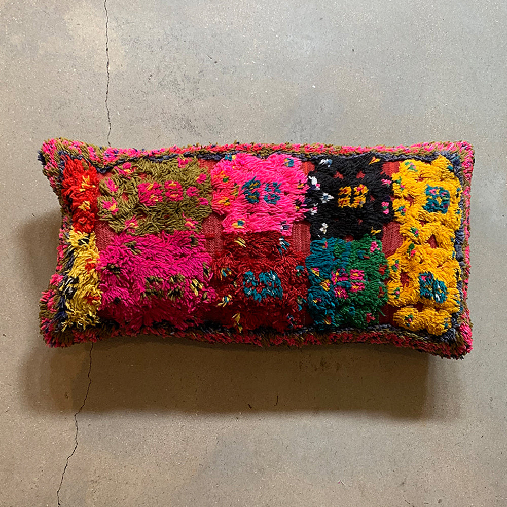 "Multi Colored Vintage Pillow - 28"" x 14"""