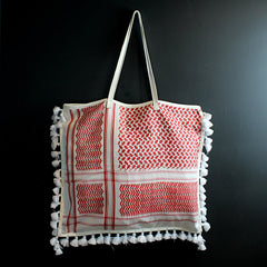 Red + White Handmade Cotton + Leather Bag