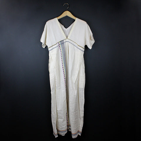 .Cream Handwoven Cotton Dress with Stripes