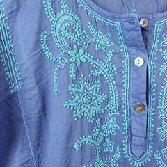 Blue Hand Embroidered Cotton Voile Dress