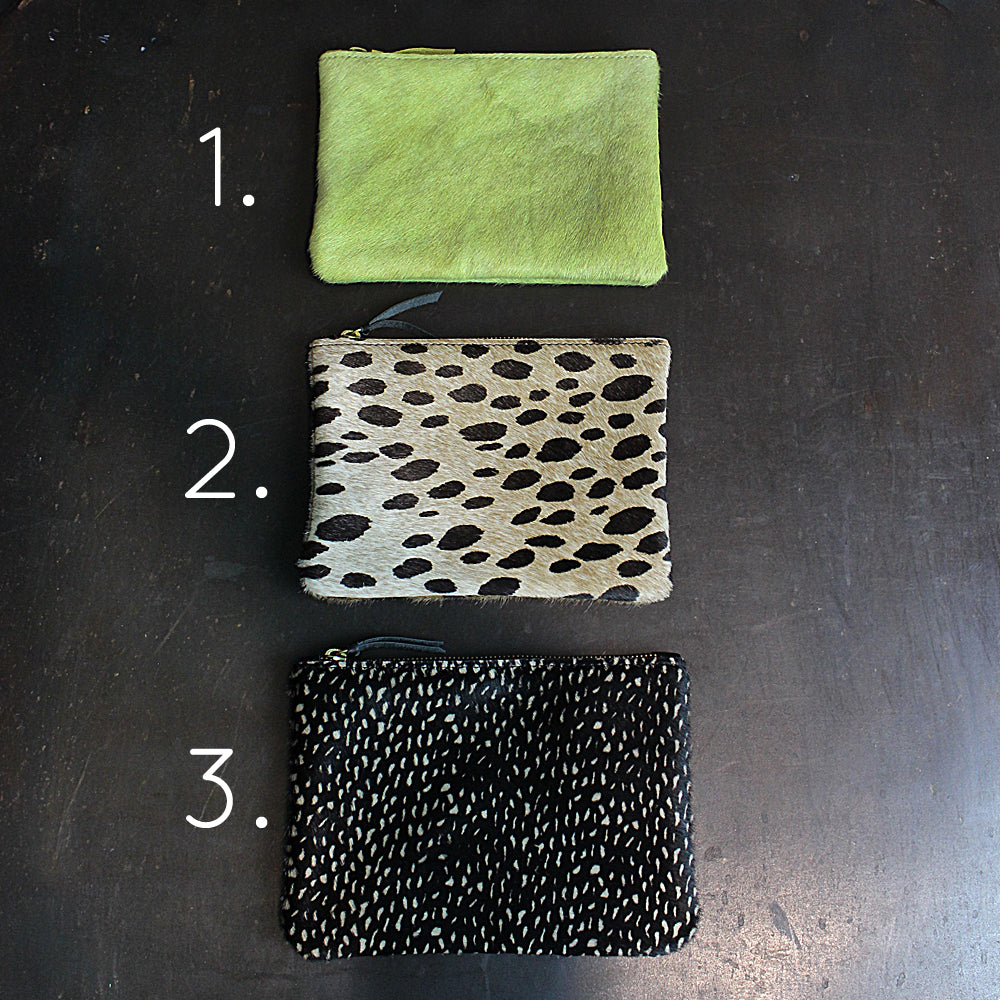 Multi Colored Cowhide Zipper Pouch