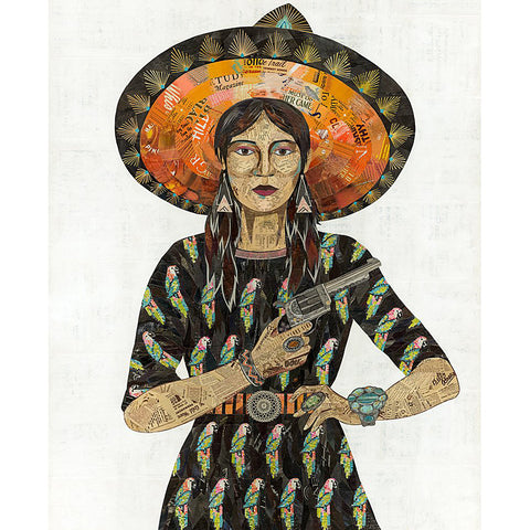 Multi Colored Print - Cowgirl with Parrots
