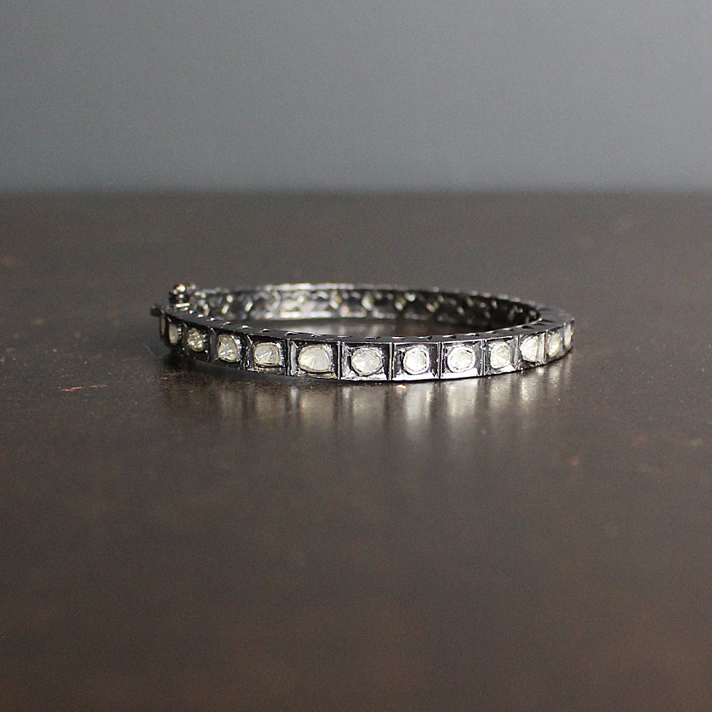 Silver Square Diamond Bracelet