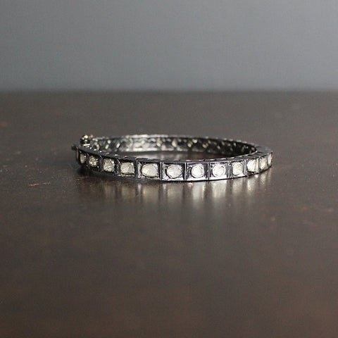 .Silver Square Diamond Bracelet