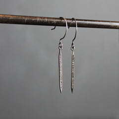 Silver Diamond Spike Earrings - Medium