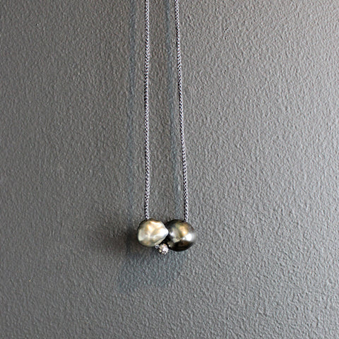 Double Tahitian Pearl Necklace with Diamond Bead