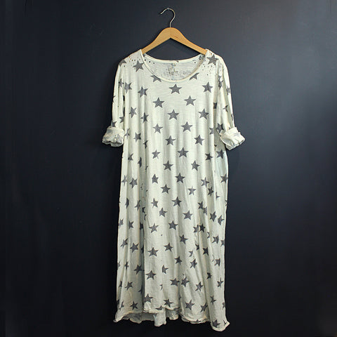White Cotton Star Dress